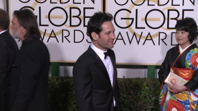 paul rudd at the 72nd annual golden globe awards - arrivals at the beverly hilton hotel on january 11, 2015 in beverly hills, california. - the beverly hilton hotel stock videos & royalty-free footage