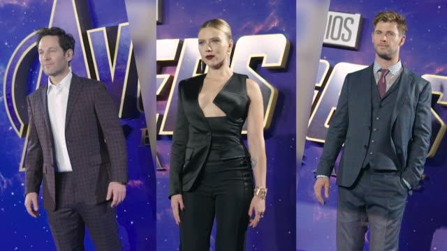 Paul Rudd Chris Hemsworth Scarlett Johansson at the 'Avengers Endgame' UK Fan Event