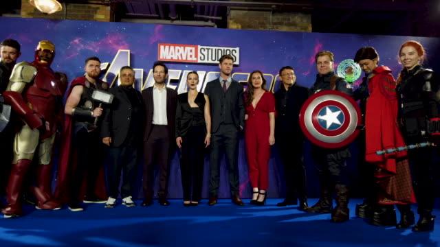 Paul Rudd Chris Hemsworth Scarlett Johansson Cosplay players at the 'Avengers Endgame' UK Fan Event