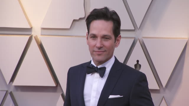 paul rudd walking the red carpet at the 91st annual academy awards at the dolby theater in los angeles, california. - music or celebrities or fashion or film industry or film premiere or youth culture or novelty item or vacations 個影片檔及 b 捲影像
