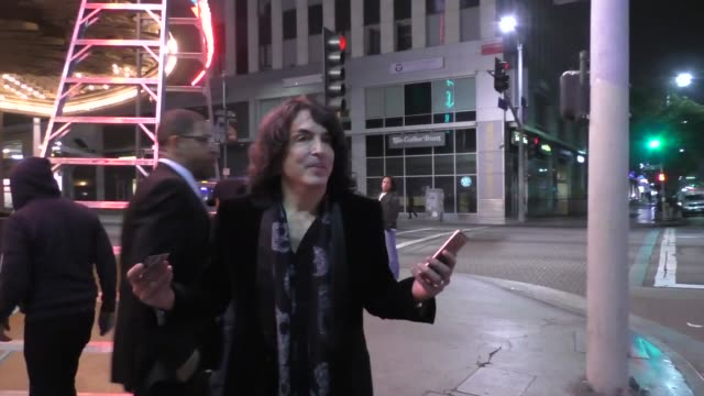 interview paul stanley from kiss talks about david bowie while leaving elton john concert at wiltern theatre in los angeles in celebrity sightings in... - wiltern theatre stock videos and b-roll footage