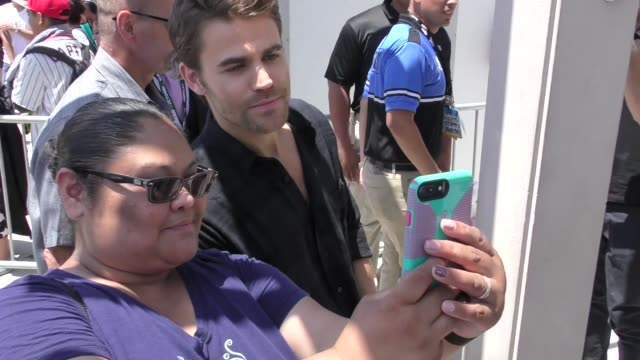 Paul Wesley greets fans on Day 1 of 2018 ComicCon in San Diego in Celebrity Sightings at ComicCon San Diego