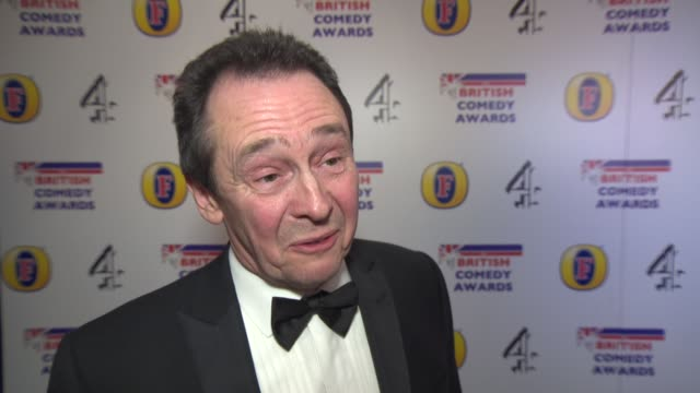 vídeos y material grabado en eventos de stock de interview paul whitehouse on winning an award and harry enfield at british comedy awards at fountain studios on december 12 2013 in london england - paul whitehouse