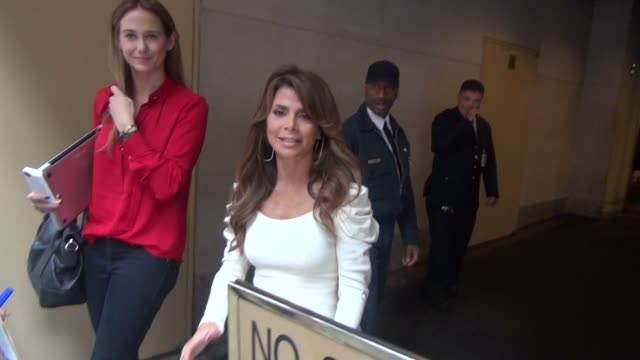 Paula Abdul poses with fans while departing from the Today show in Rockefeller Center on October 15 2014 in New York City