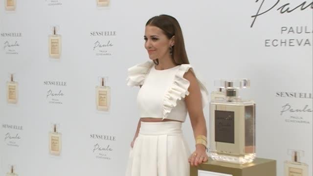 paula echevarria presents her new fragance 'sensuelle' at gran melia palacio de los duques - パウラ エシェバリア点の映像素材/bロール