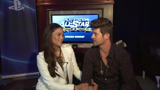 paula patton, robin thicke on father's day plans - robin thicke & paula patton attend the playstation lounge at the electronic entertainment expo... - robin day stock videos & royalty-free footage