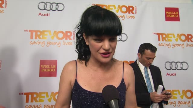 pauley perrette on why she supports the trevor project what she is most looking forward to and why katy perry is deserving of the trevor hero award... - the trevor project stock videos and b-roll footage