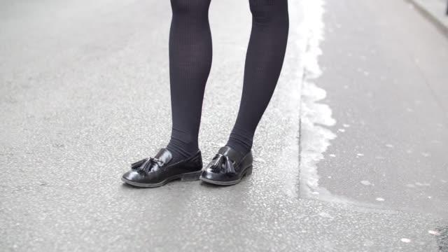 pauline darris founder of the accessories brand darris wears a zara striped shirt an american apparel blue skirt zara black shoes a hermes bracelet... - hermes designer label stock videos and b-roll footage