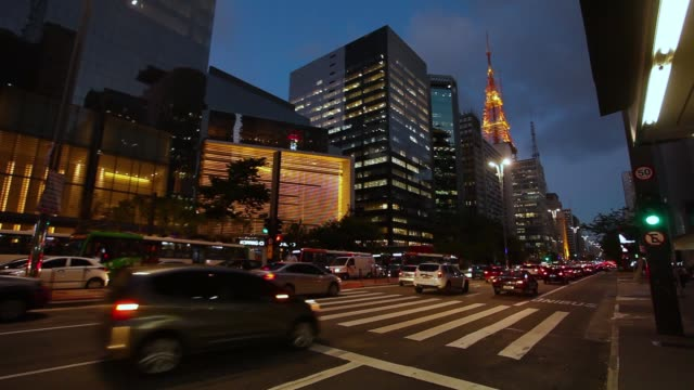 paulista avenue at night - avenida paulista stock videos & royalty-free footage