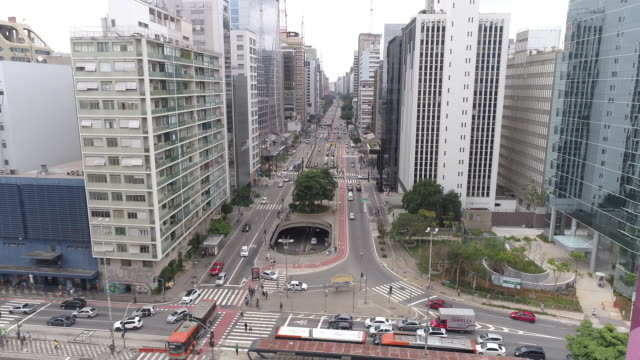 paulista avenue drone view - avenue stock videos & royalty-free footage