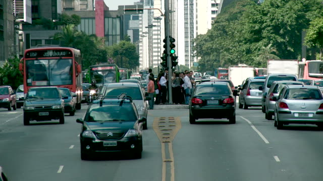 paulista busy avenue - traffic - são paulo state stock videos & royalty-free footage