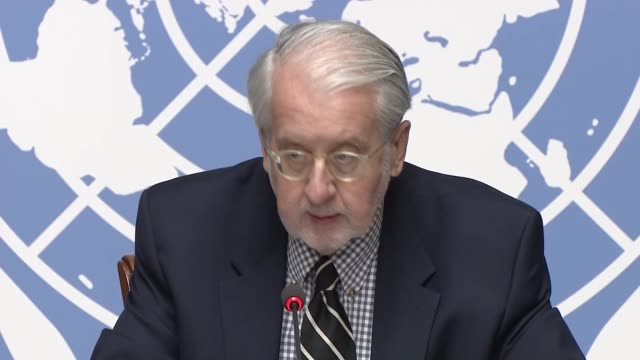 Paulo Pinheiro Chairperson of the UN Commission of Inquiry on Syria and Carla del Ponte member of the Commission of Inquiry on Syria attend a press...