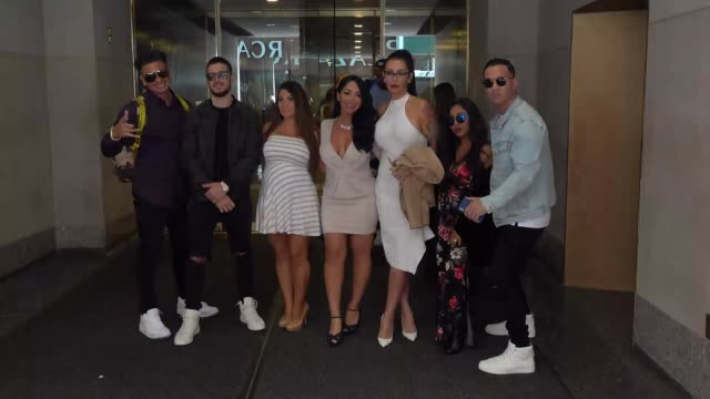 Pauly D Vinny Guadagnino Deena Nicole Cortese Angelina Pivarnick JWoww Snooki The Situation from Jersey Shore Family Vacation leave NBC Studios in...