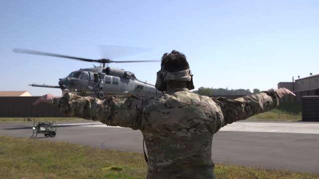 Pave Hawk crew members and pararescuemen from the 33rd Rescue Squadron launch for a search and rescue training mission at Osan Air Base Republic of...