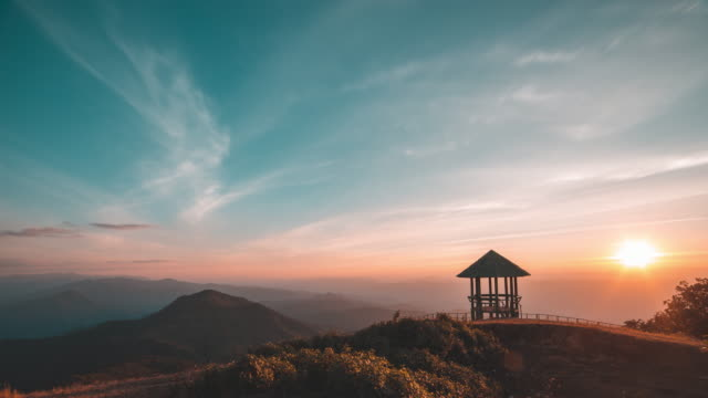 pavilion on mountain peak at sunset - pavilion video stock e b–roll