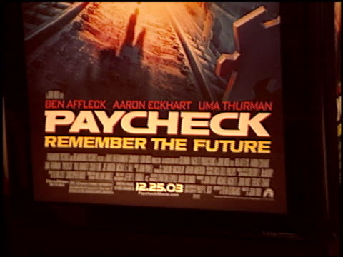 paycheck premiere at the 'paycheck' premiere at grauman's chinese theatre in hollywood california on december 18 2003 - gehaltsstreifen stock-videos und b-roll-filmmaterial