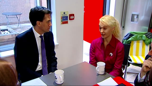 credit union visit and ed miliband interview more shots of miliband chatting to payday loan customers natsot / close shot of london mutual... - credit union stock videos & royalty-free footage