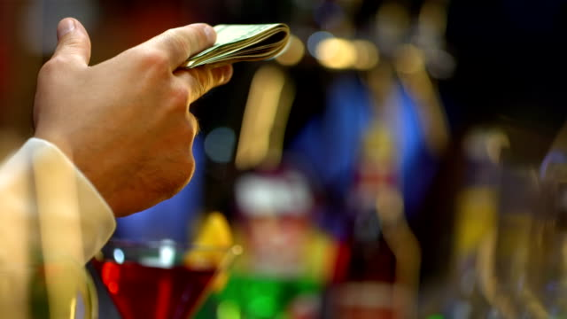 hd: paying drinks with cash - gratuity stock videos & royalty-free footage