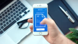 Paying for bill on mobile payment app on the smartphone