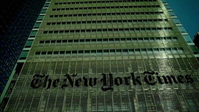 lord patten and mark thompson clash new york times headquarters building - ニューヨークタイムズ点の映像素材/bロール
