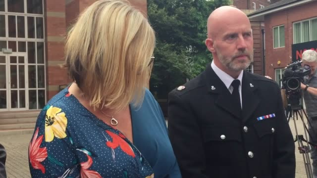 pc claire bond and staffordshire police's head of response carl ratcliffe speak outside court after sentencing for gurajdeep malhi gurajdeep malhi is... - sentencing stock videos & royalty-free footage