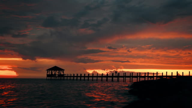 pea island outer banks - pier stock videos & royalty-free footage