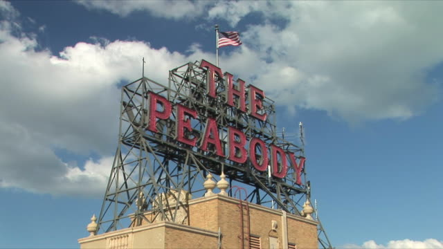 WS LA Peabody Hotel sign on roof, Memphis, Tennessee, USA