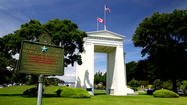 peace arch park - stato di washington video stock e b–roll
