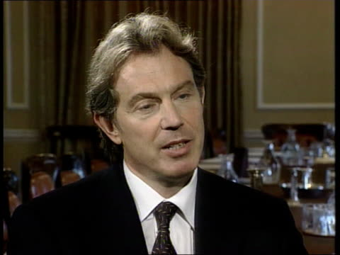 peace deal/troop movements; itn england: london: downing street: int tony blair mp interviewed sot - we believed in the cause for which we were... - bosnia and hercegovina stock videos & royalty-free footage