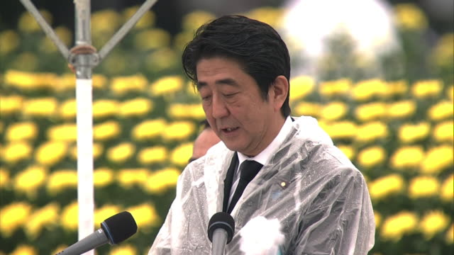 Peace declaration speech of the Prime Minister of Japan Shinzo Abe at Hiroshima Peace Memorial Ceremony on stage As the sole country to have suffered...