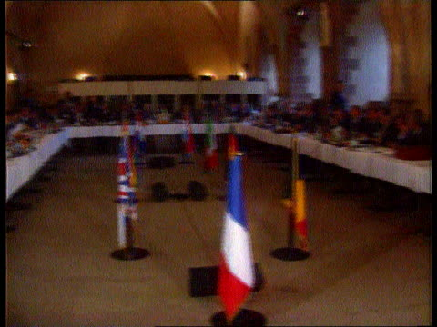 peace efforts; peace efforts; netherlands: the hague int tgv meeting of western european union l-r tms french delegation, including fm roland dumas... - audio hardware stock videos & royalty-free footage