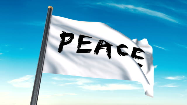 peace flag waving (luma matte included so you can put your own background) - textile patch stock videos & royalty-free footage