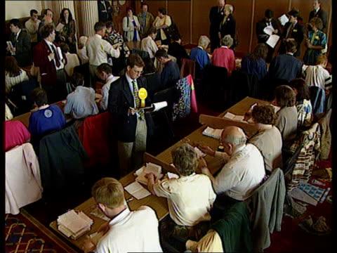 peace forum' elections; n ireland: belfast: cms teller's hands counting ballot papers tellers at work tms ballot box being emptied onto desk r-l... - röstsedel bildbanksvideor och videomaterial från bakom kulisserna