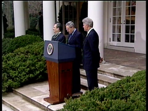 Peace Israel/Syria takls POOL USA Washington DC White House Farouk AlSharaa speaking at press conference SOT We are approaching the moment of truth...
