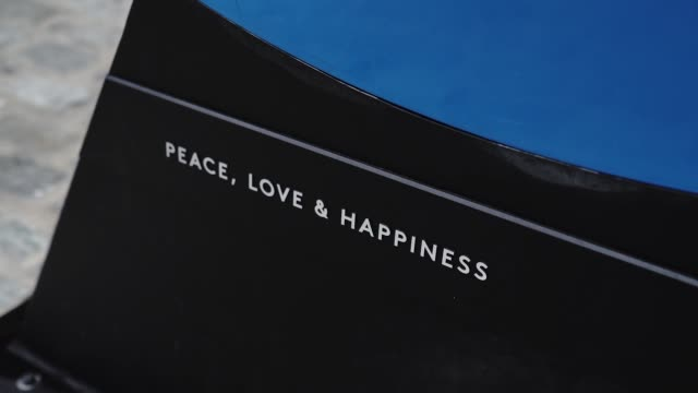 peace, love & happiness was created in spring 2020 by scott gerber, artist and founder of tube dude. gerber designed the piece for the seaport... - 創始者点の映像素材/bロール