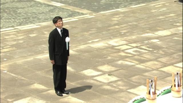 vidéos et rushes de peace memorial ceremony at nagasaki peace park on the 69th atomicbomb day of nagasaki high angle shot of the mayor of nagasaki city tomihisa taue... - arme de destruction massive