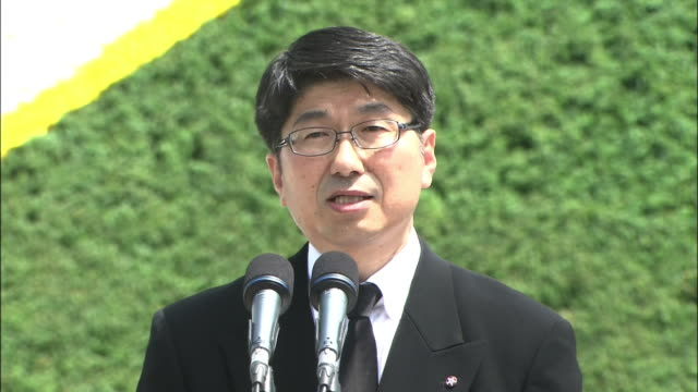 peace memorial ceremony at nagasaki peace park on the 69th atomicbomb day of nagasaki peace declaration speech made by the mayor of nagasaki city... - massförstörelsevapen bildbanksvideor och videomaterial från bakom kulisserna