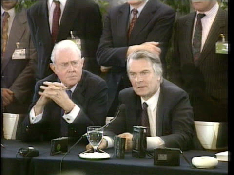 peace plan signed greece athens lms cyrus vance and lord david owen towards with representatives from all sides cyrus vance and lord david owen... - bosnia and hercegovina stock videos & royalty-free footage