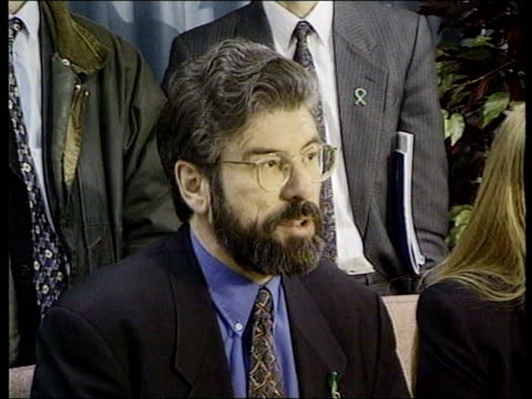 sinn fein pres gerry adams mp into building int press at pkf gerry adams mp pkf need british govt to take up a leadership position england london... - sinn fein stock videos & royalty-free footage