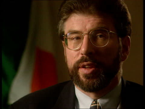 peace process: 'dispatches' report; int cms gerry adams intvwd sot -our project was aimed at getting the ira to cease fire so that a proper peace... - ceasefire stock videos & royalty-free footage