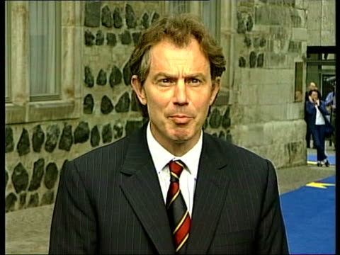 peace proposals accepted; pool british prime minister tony blair mp along and waving as up to press and speaking sot - good news that these demands... - lionel blair stock videos & royalty-free footage
