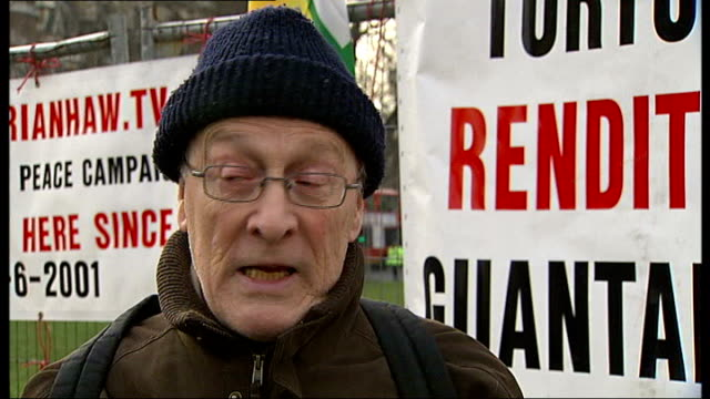 peace protesters mostly removed from parliament square; michael culver interview sot - saying tucker was arrested for obstruction - tucker stock videos & royalty-free footage
