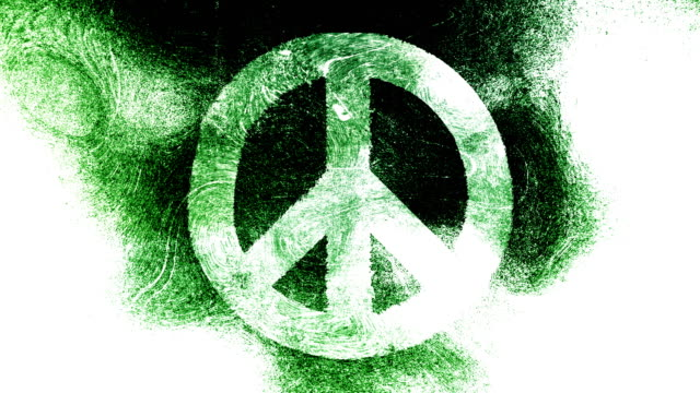 Peace symbol on a high contrasted grungy and dirty, animated, distressed and smudged 4k video white background with swirls and frame by frame motion feel with street style for the concepts of peace, world peace, no war, protest, and tranquility