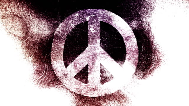 peace symbol on a high contrasted grungy and dirty, animated, distressed and smudged 4k video white background with swirls and frame by frame motion feel with street style for the concepts of peace, world peace, no war, protest, and tranquility - smudged stock videos & royalty-free footage