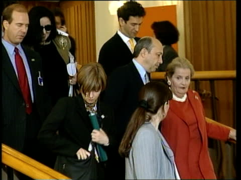 Peace talks/NATO strikes POOL GERMANY Cologne INT US Secretary of State Madeleine Albright downstairs chatting Russian Foreign Minister Igor Ivanov...