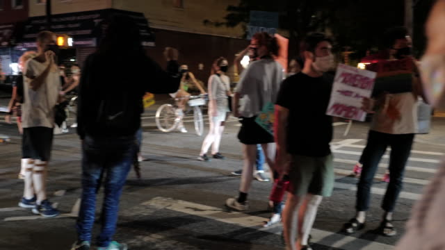 peaceful and weekly protest march for social justice through the streets on september 4, 2020 in greenpoint, brooklyn. for 99 days, the mccarren... - social justice concept stock-videos und b-roll-filmmaterial