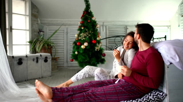peaceful christmas morning. - pyjamas stock videos & royalty-free footage