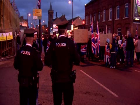Peaceful protest in Belfast against restrictions on flying the Union Flag on the city hall