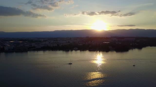 Peaceful sunset moments on Lake Geneva, Geneva, Switerland