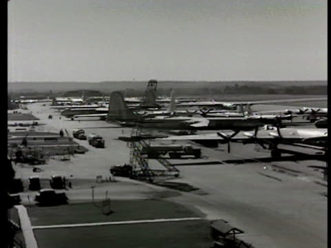 Guard gate entrance w/ guards to Carswell Field Forth Worth Naval Air Station HA WS PAN Airfield w/ parked B36 B29 military aircraft airplanes...